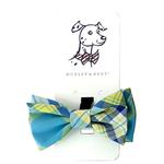 View Image 1 of Huxley & Kent Dog Bow Tie Collar Attachment - Turquoise Madras