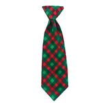 View Image 1 of Huxley & Kent Holiday Long Tie Collar Attachment Dog Necktie - Scottish Check