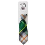 View Image 1 of Huxley & Kent Long Tie Collar Attachment Dog Necktie - Green Madras