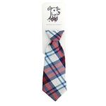 View Image 1 of Huxley & Kent Long Tie Collar Attachment Dog Necktie - Americana Madras