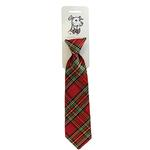 View Image 1 of Huxley & Kent Holiday Long Tie Collar Attachment Dog Necktie - Red Plaid