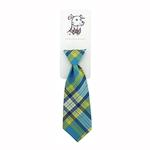 View Image 1 of Huxley & Kent Long Tie Collar Attachment Dog Necktie - Turquoise Madras
