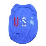 View Image 1 of USA Dog Shirt - Blue