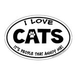 View Image 1 of I Love Cats...People Annoy Me Oval Magnet