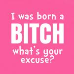 View Image 2 of I Was Born a Bitch - What's Your Excuse? Dog Shirt - Bright Pink