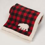 View Image 1 of Jackson Polar Bear Fleece Dog Blanket - Red/Black