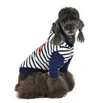 View Image 4 of Jalen Stripe Dog Hoodie by Puppia - Navy