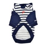 View Image 2 of Jalen Stripe Dog Hoodie by Puppia - Navy