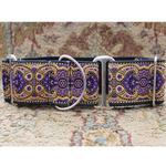 View Image 2 of Kashmir Wide Martingale Dog Collar by Diva Dog - Sultan Purple