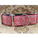 View Image 2 of Kashmir Wide Martingale Dog Collar by Diva Dog - Empress Red
