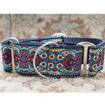 View Image 2 of Kashmir Wide Martingale Dog Collar by Diva Dog - Temple Red