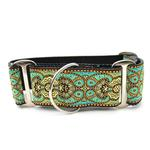 View Image 1 of Kashmir Wide Martingale Dog Collar by Diva Dog - Turkish Teal