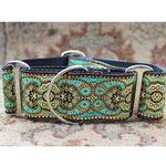 View Image 2 of Kashmir Wide Martingale Dog Collar by Diva Dog - Turkish Teal