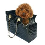 View Image 1 of Kate Quilted Dog Carrier by The Dog Squad - Black Patent
