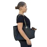 View Image 3 of Kate Quilted Dog Carrier by The Dog Squad - Black