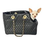 View Image 2 of Kate Quilted Dog Carrier by The Dog Squad - Black