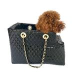 View Image 2 of Kate Quilted Dog Carrier by The Dog Squad - Black Patent