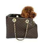 View Image 2 of Kate Quilted Dog Carrier by The Dog Squad - Chocolate