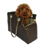 View Image 1 of Kate Quilted Dog Carrier by The Dog Squad - Chocolate