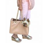 View Image 3 of Kate Quilted Dog Carrier by The Dog Squad - Tan