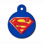View Image 1 of Large Circle Engravable Pet I.D. Tag - Superman Blue