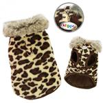 View Image 2 of Leopard Print Dog Vest with Fur Collar by Klippo
