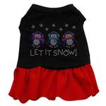 View Image 1 of Let it Snow Penguins Rhinestone Dog Dress - Black with Red Skirt