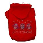 View Image 1 of Let it Snow Penguins Rhinestone Dog Hoodie - Red