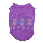 View Image 1 of Let it Snow Penguins Rhinestone Dog Shirt - Purple