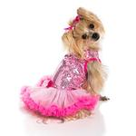 View Image 2 of Light Pink Sequin Dog Dress by Pawpatu