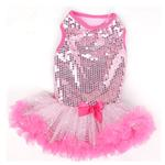 View Image 1 of Light Pink Sequin Dog Dress by Pawpatu