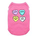 View Image 1 of Conversation Hearts Valentine Dog Shirt - Bright Pink
