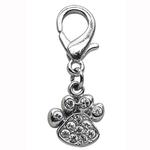 View Image 1 of Lobster Claw Paw Print Dog Collar Charm - Clear