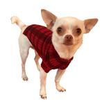 View Image 1 of Londoner Plaid Mock Neck Dog Sweater by The Dog Squad - Red