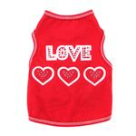 View Image 1 of Love with Three Hearts Dog Tank - Red