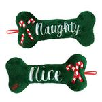 View Image 1 of Lulubelles Holiday Power Plush Dog Toy - Naughty and Nice Bone