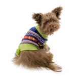 View Image 3 of Luna's Bohemian Dog Poncho - Navy and Green