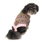 View Image 1 of Luna's Bohemian Dog Poncho - Pink and Brown