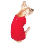 View Image 1 of Luxury Preppy Polo Cable Knit Dog Sweater - Red