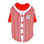 View Image 1 of Major Baseball Dog Jersey by Puppia - Red
