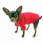 View Image 2 of Christmas Bows Hand-Smocked Dog Sweater By Oscar Newman - Red