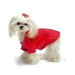 View Image 3 of Christmas Bows Hand-Smocked Dog Sweater By Oscar Newman - Red
