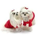 View Image 4 of Christmas Bows Hand-Smocked Dog Sweater By Oscar Newman - Red