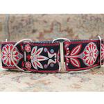 View Image 3 of Mandala Star Wide Martingale Dog Collar by Diva Dog - Carnelian Red