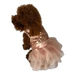 View Image 1 of Marilyn Sequin Fufu Tutu Dog Dress - Rose Gold