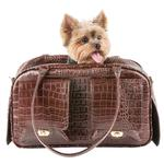 View Image 4 of Marlee Dog Carrier by Petote - Brown Croco