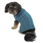 View Image 1 of Marley's Cable Dog Sweater - Slate Blue