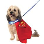 View Image 1 of Superman Dog Cape with Light Up Collar and Leash