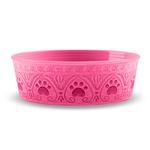 View Image 1 of Medallion Paw Print Pet Bowl by TarHong - Pink