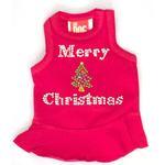 View Image 1 of Merry Christmas Tree Rhinestone Holiday Dog Dress - Red